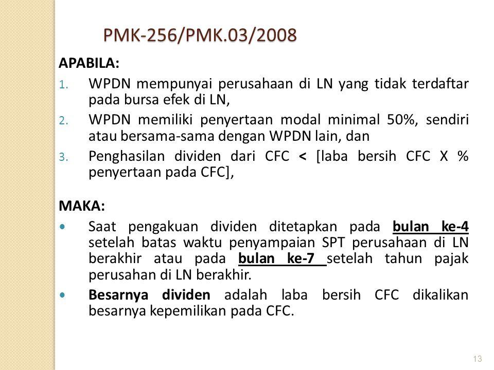 IHT PMK-256/PMK.03/2008. APABILA: WPDN mempunyai perusahaan di LN yang tidak terdaftar pada bursa efek di LN,