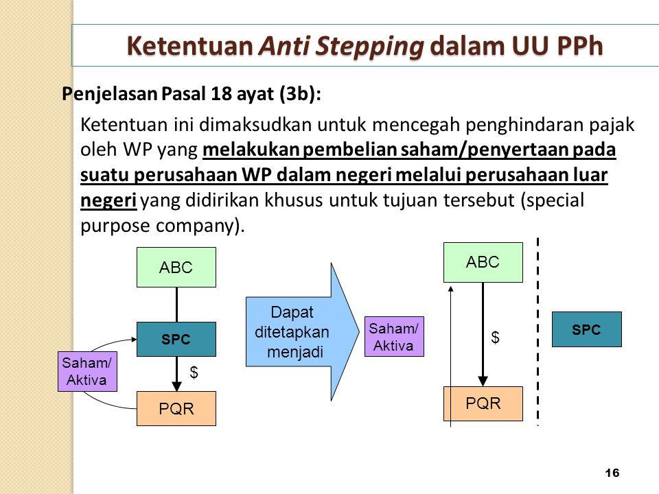 Ketentuan Anti Stepping dalam UU PPh