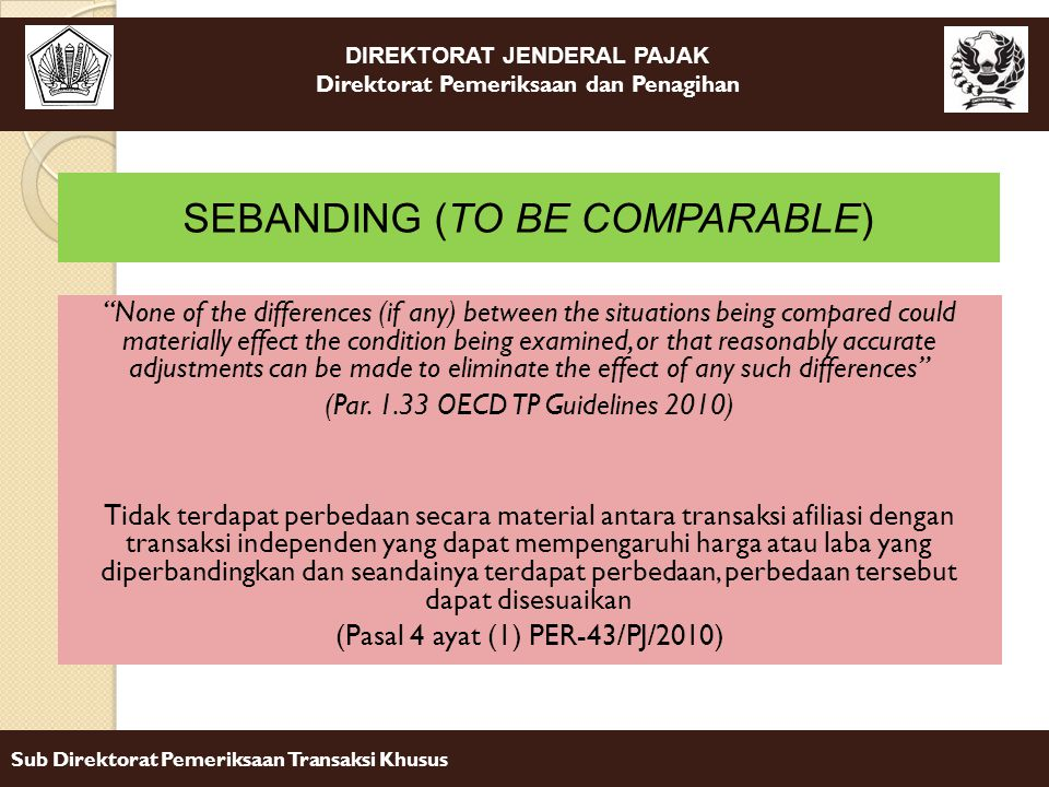 SEBANDING (TO BE COMPARABLE)