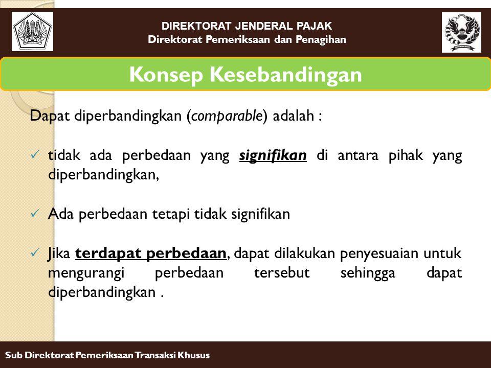 Konsep Kesebandingan Dapat diperbandingkan (comparable) adalah :