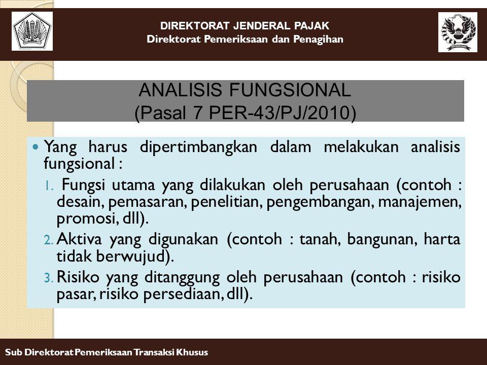 ANALISIS FUNGSIONAL (Pasal 7 PER-43/PJ/2010)