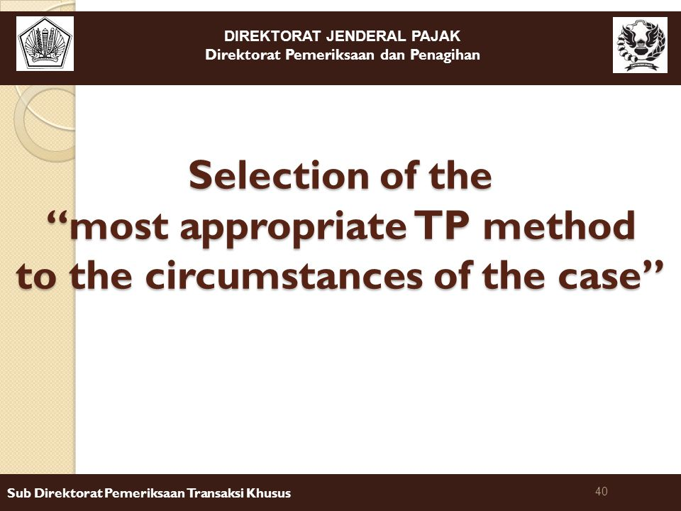 Selection of the most appropriate TP method to the circumstances of the case