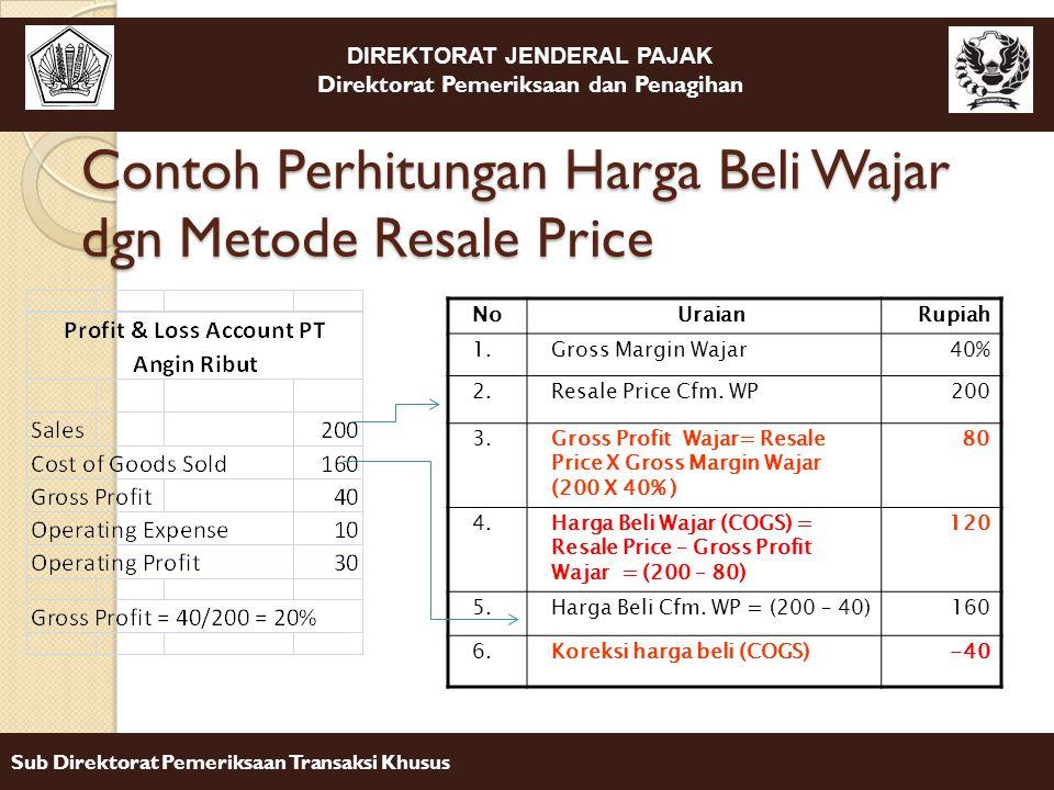 Contoh Perhitungan Harga Beli Wajar dgn Metode Resale Price