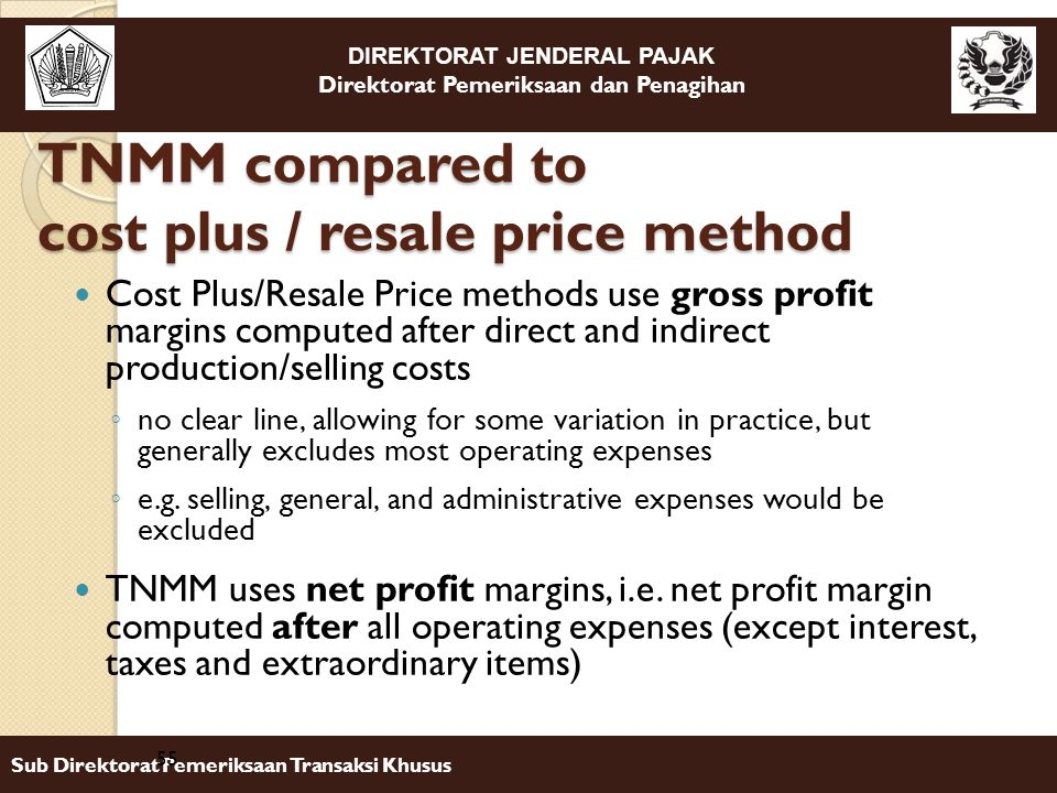 TNMM compared to cost plus / resale price method