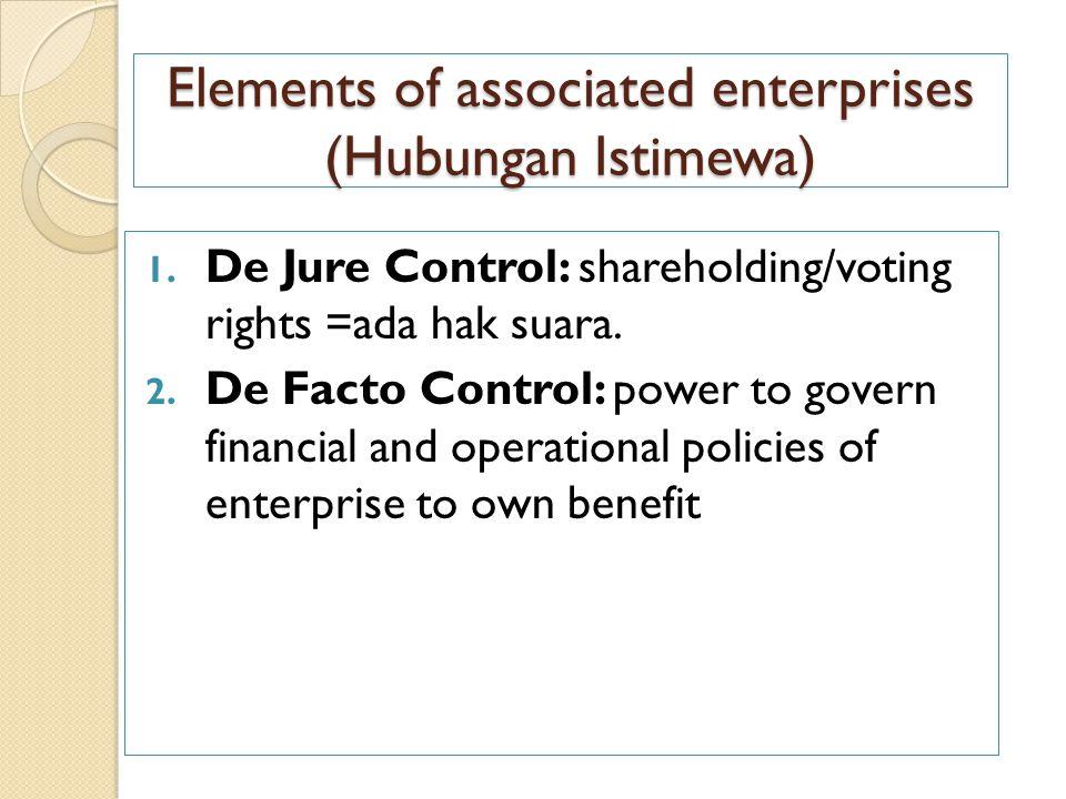 Elements of associated enterprises (Hubungan Istimewa)