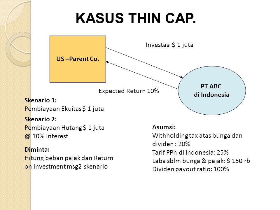 KASUS THIN CAP. Investasi $ 1 juta US –Parent Co. PT ABC di Indonesia