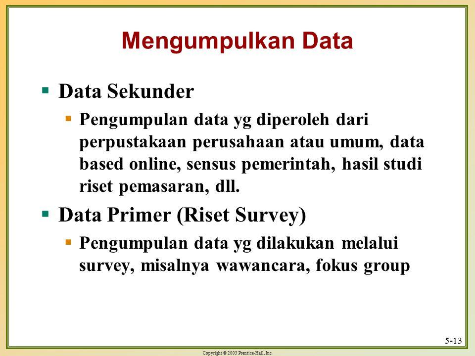 Mengumpulkan Data Data Sekunder Data Primer (Riset Survey)