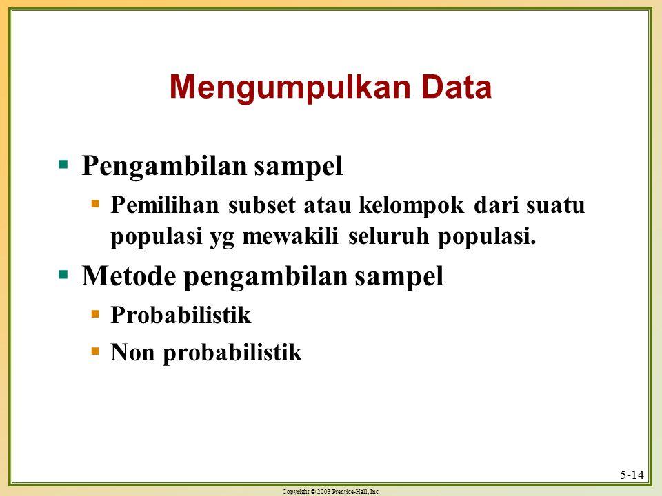 Mengumpulkan Data Pengambilan sampel Metode pengambilan sampel