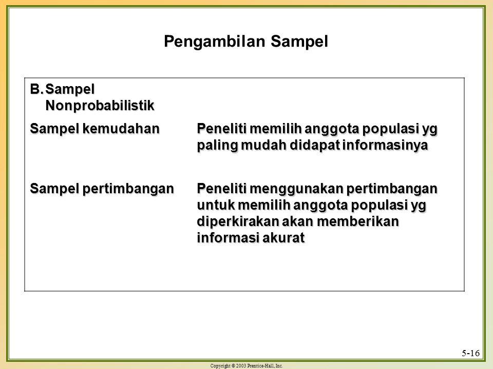 Pengambilan Sampel Sampel Nonprobabilistik Sampel kemudahan