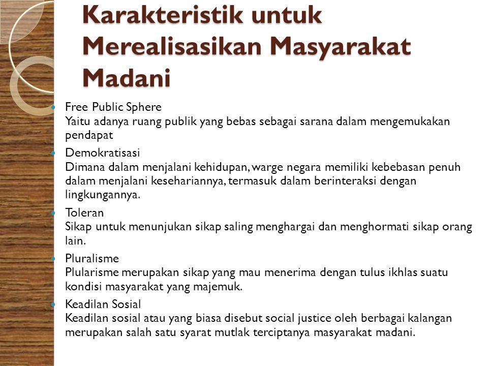 Karakteristik untuk Merealisasikan Masyarakat Madani