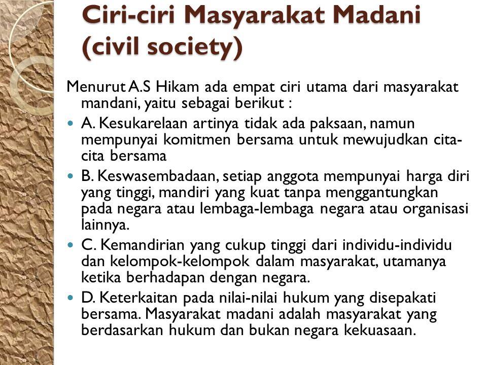 Ciri-ciri Masyarakat Madani (civil society)