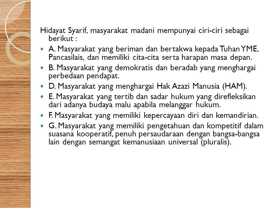 Hidayat Syarif, masyarakat madani mempunyai ciri-ciri sebagai berikut :