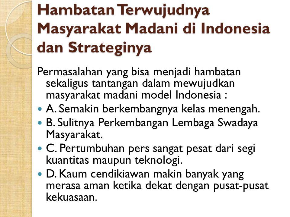 Hambatan Terwujudnya Masyarakat Madani di Indonesia dan Strateginya