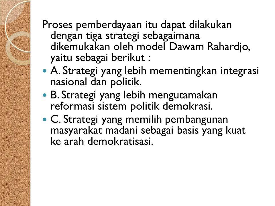 Proses pemberdayaan itu dapat dilakukan dengan tiga strategi sebagaimana dikemukakan oleh model Dawam Rahardjo, yaitu sebagai berikut :