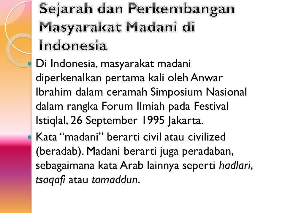 Sejarah dan Perkembangan Masyarakat Madani di Indonesia