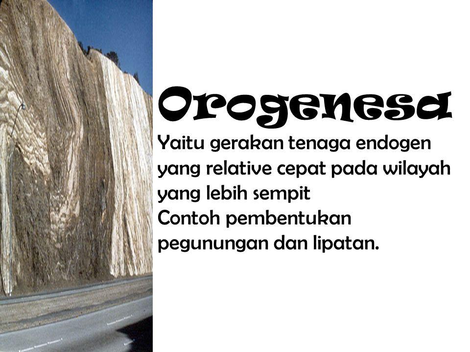 Orogenesa Yaitu gerakan tenaga endogen yang relative cepat pada wilayah yang lebih sempit.