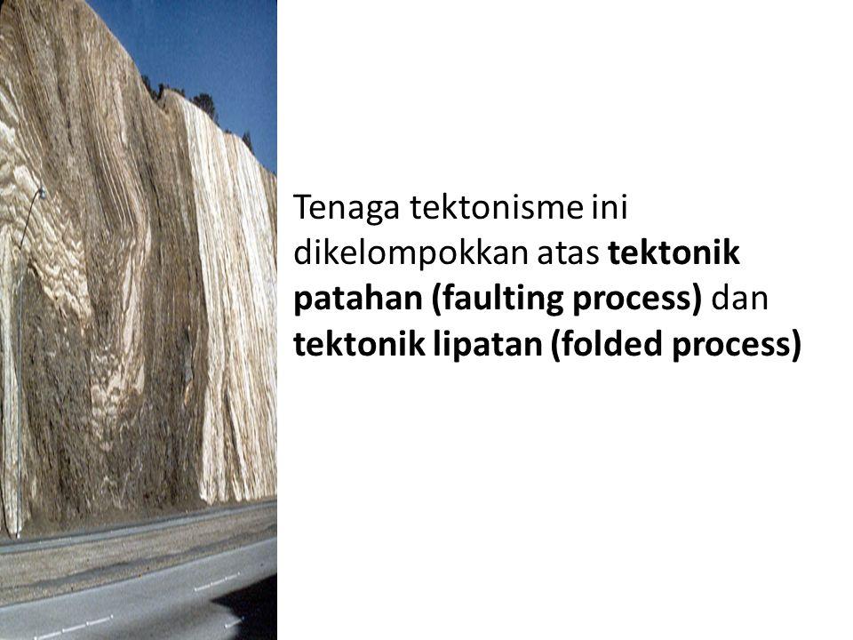 Tenaga tektonisme ini dikelompokkan atas tektonik patahan (faulting process) dan tektonik lipatan (folded process)