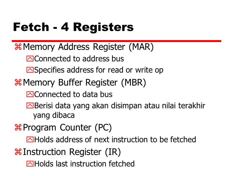 Fetch - 4 Registers Memory Address Register (MAR)