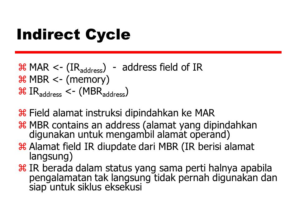 Indirect Cycle MAR <- (IRaddress) - address field of IR