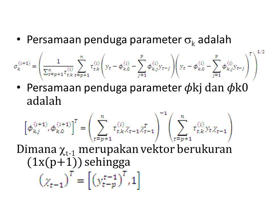 Persamaan penduga parameter k adalah