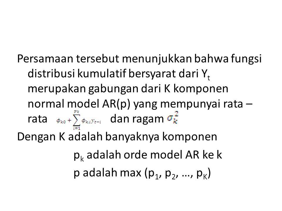 Persamaan tersebut menunjukkan bahwa fungsi distribusi kumulatif bersyarat dari Yt merupakan gabungan dari K komponen normal model AR(p) yang mempunyai rata – rata dan ragam Dengan K adalah banyaknya komponen pk adalah orde model AR ke k p adalah max (p1, p2, …, pK)