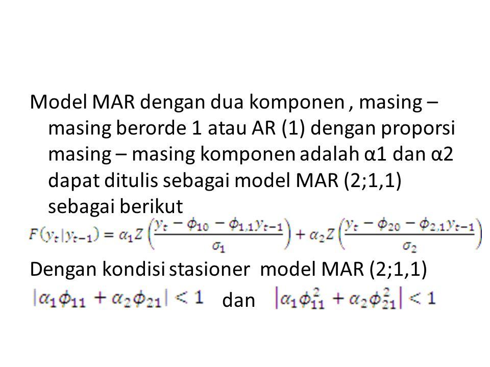 Model MAR dengan dua komponen , masing –masing berorde 1 atau AR (1) dengan proporsi masing – masing komponen adalah α1 dan α2 dapat ditulis sebagai model MAR (2;1,1) sebagai berikut Dengan kondisi stasioner model MAR (2;1,1) dan