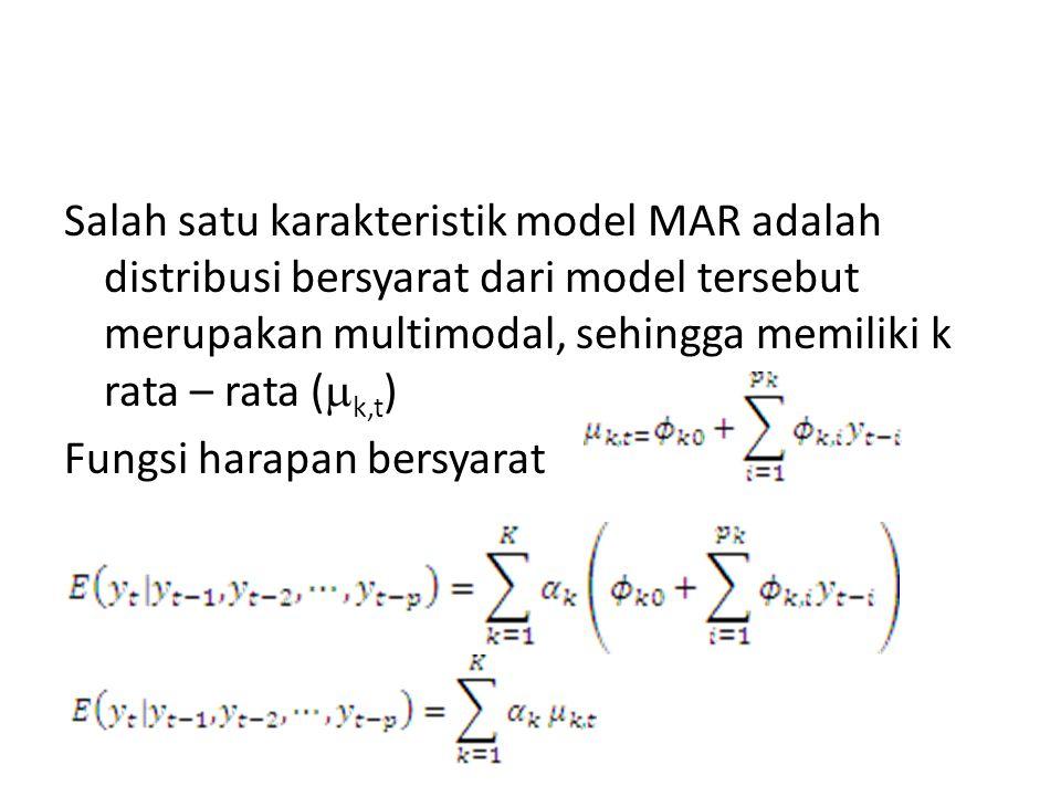 Salah satu karakteristik model MAR adalah distribusi bersyarat dari model tersebut merupakan multimodal, sehingga memiliki k rata – rata (k,t) Fungsi harapan bersyarat