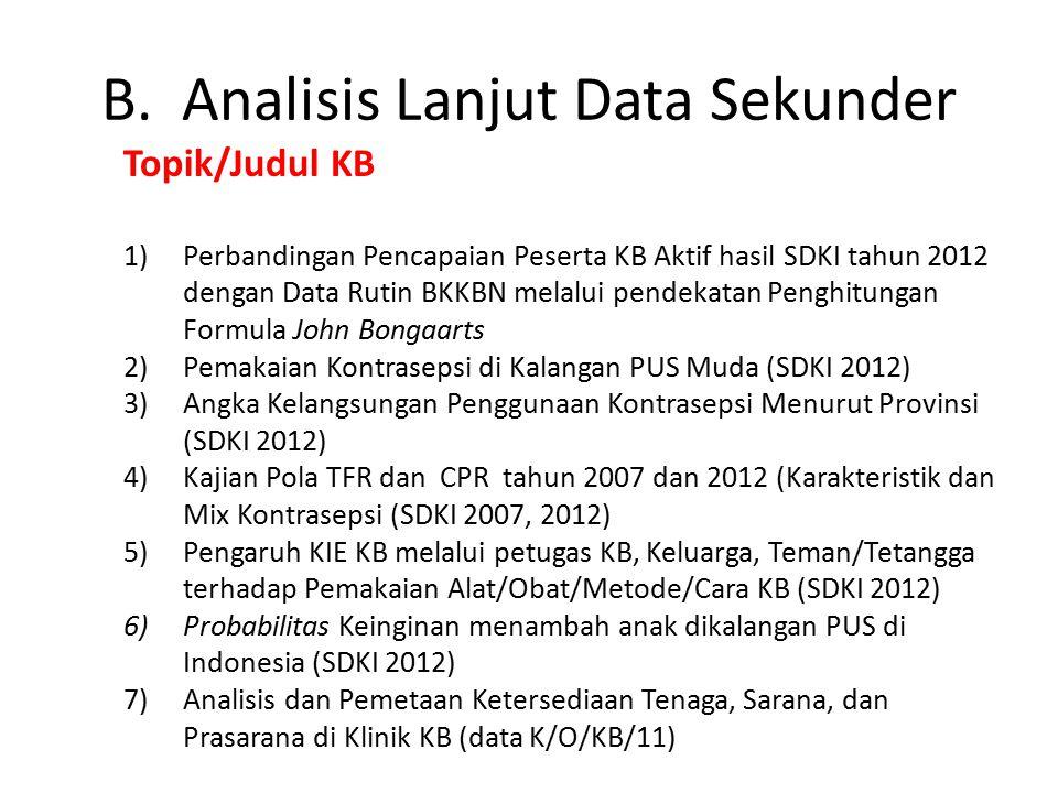 B. Analisis Lanjut Data Sekunder
