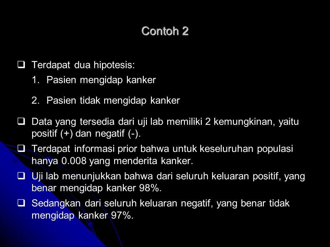 Contoh 2 Terdapat dua hipotesis: Pasien mengidap kanker