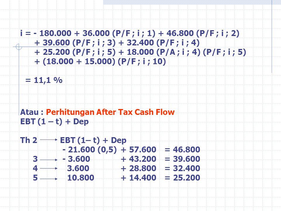 i = - 180. 000 + 36. 000 (P/F ; i ; 1) + 46. 800 (P/F ; i ; 2). + 39