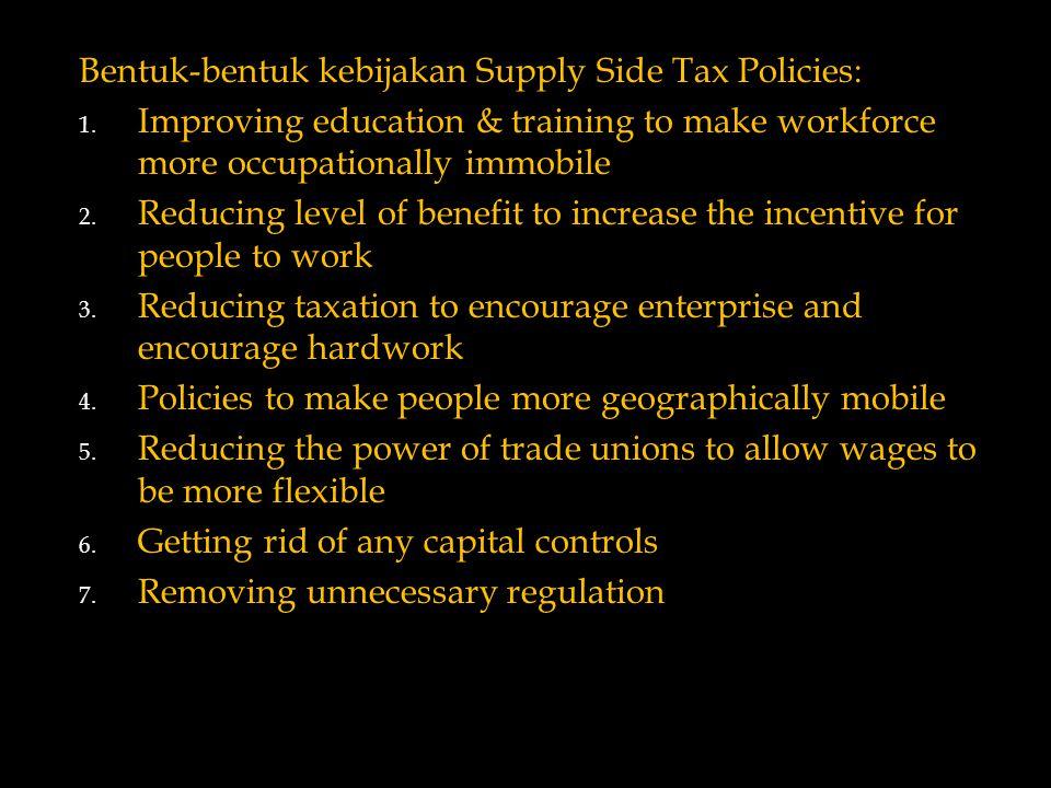 Bentuk-bentuk kebijakan Supply Side Tax Policies: