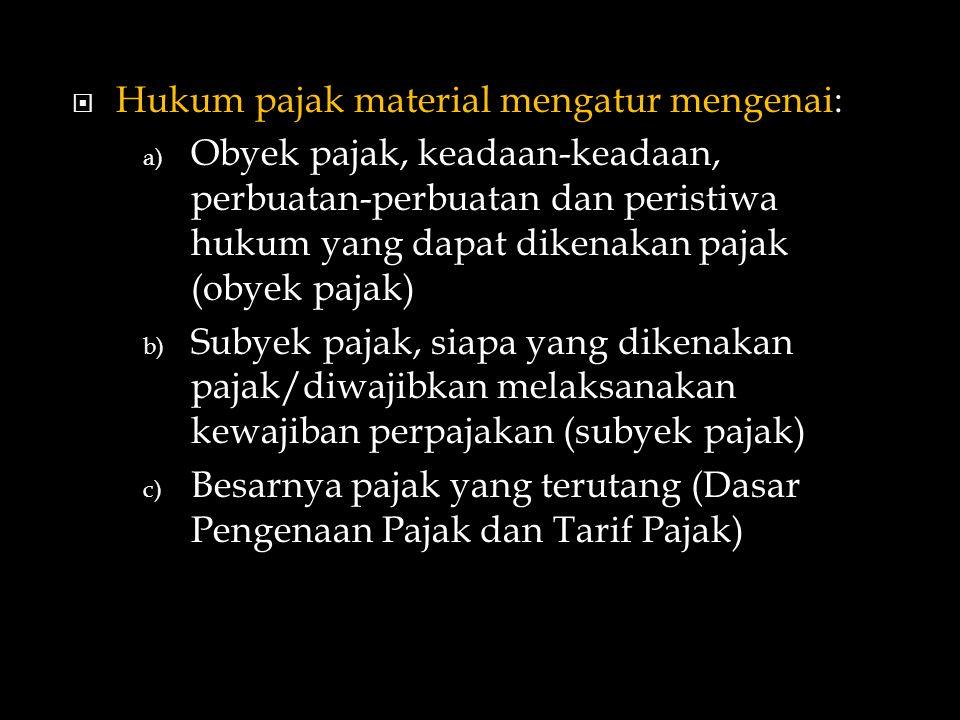 Hukum pajak material mengatur mengenai: