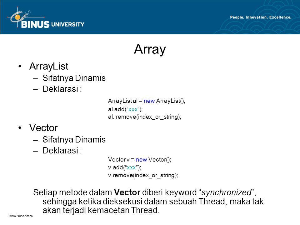 Array ArrayList Vector Sifatnya Dinamis Deklarasi :