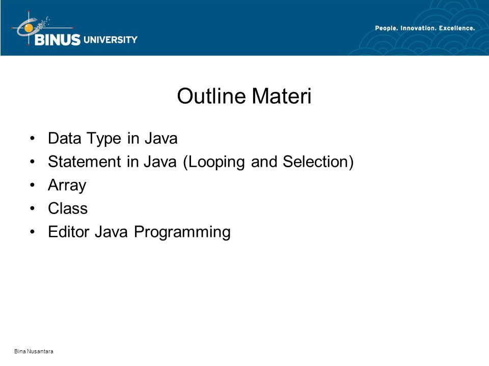 Outline Materi Data Type in Java