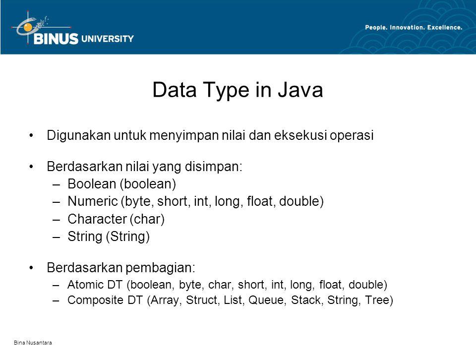 Data Type in Java Digunakan untuk menyimpan nilai dan eksekusi operasi