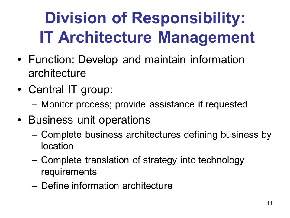 Division of Responsibility: IT Architecture Management