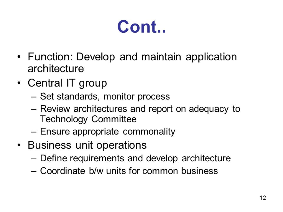Cont.. Function: Develop and maintain application architecture