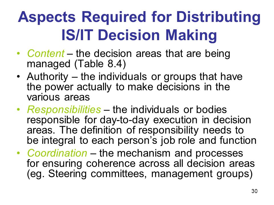 Aspects Required for Distributing IS/IT Decision Making