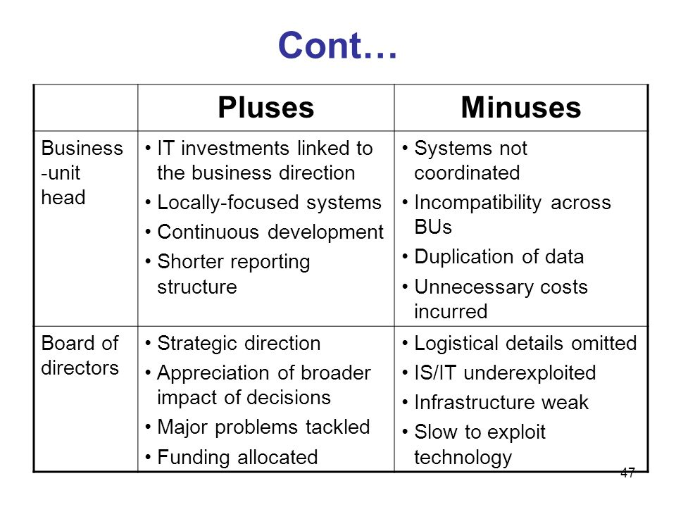 Cont… Pluses Minuses Business-unit head