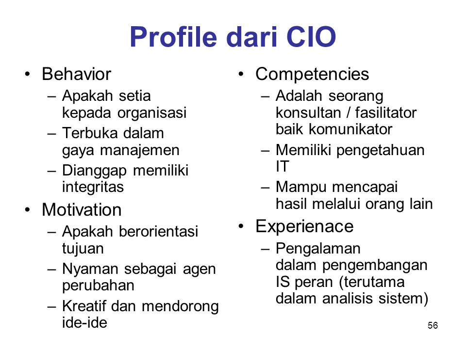 Profile dari CIO Behavior Motivation Competencies Experienace