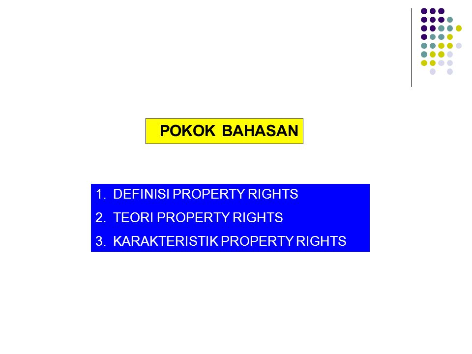 POKOK BAHASAN DEFINISI PROPERTY RIGHTS TEORI PROPERTY RIGHTS
