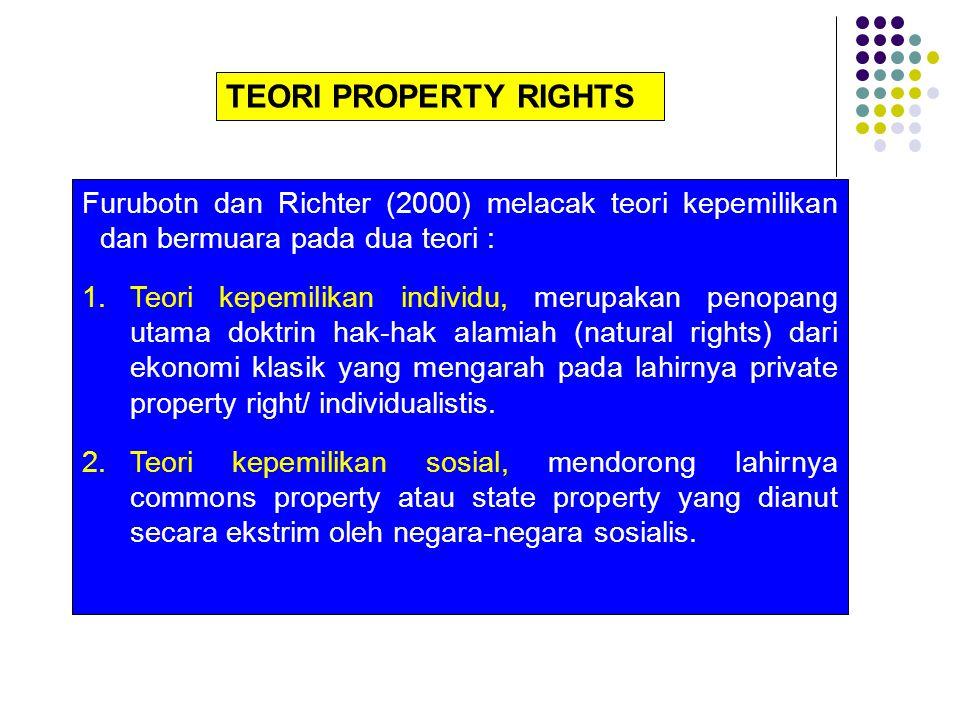 TEORI PROPERTY RIGHTS Furubotn dan Richter (2000) melacak teori kepemilikan dan bermuara pada dua teori :