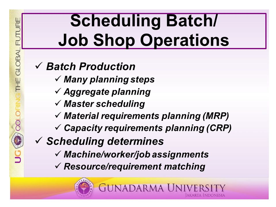 Scheduling Batch/ Job Shop Operations