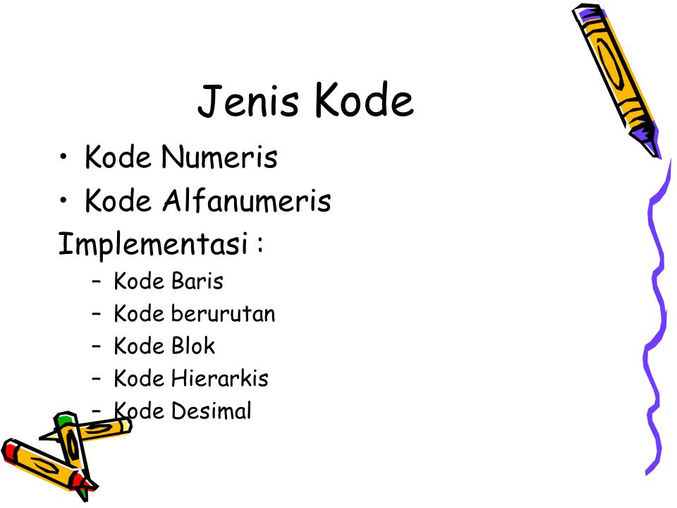 Jenis Kode Kode Numeris Kode Alfanumeris Implementasi : Kode Baris