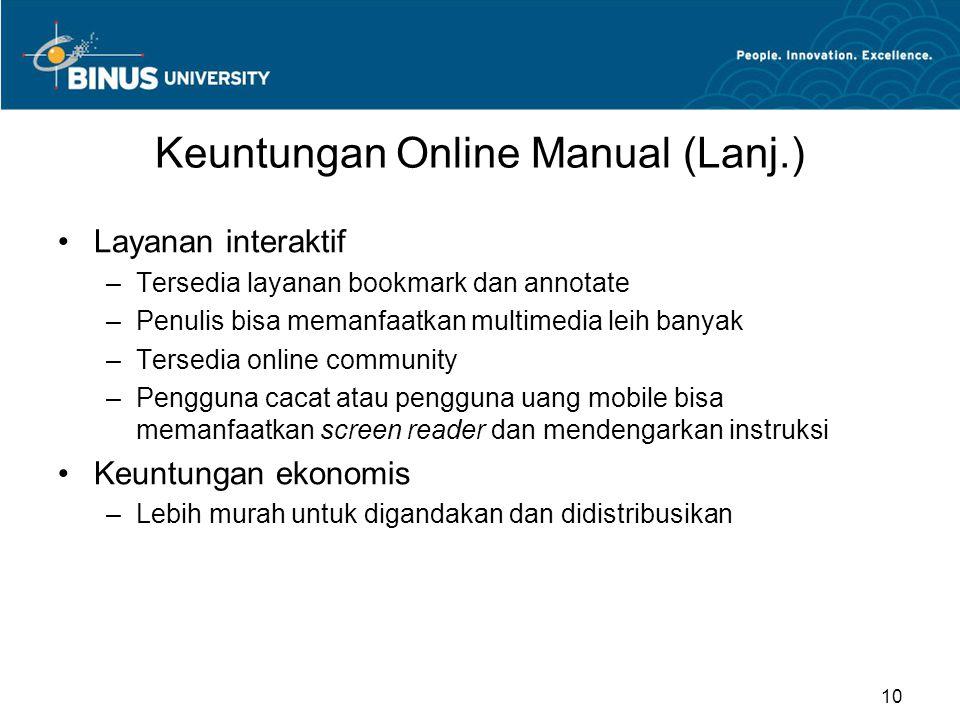 Keuntungan Online Manual (Lanj.)