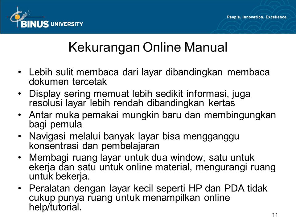 Kekurangan Online Manual