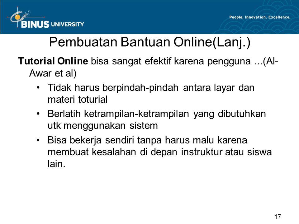 Pembuatan Bantuan Online(Lanj.)