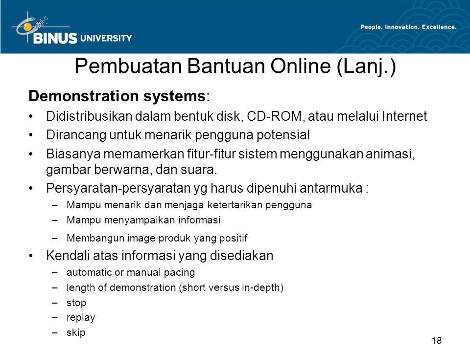 Pembuatan Bantuan Online (Lanj.)