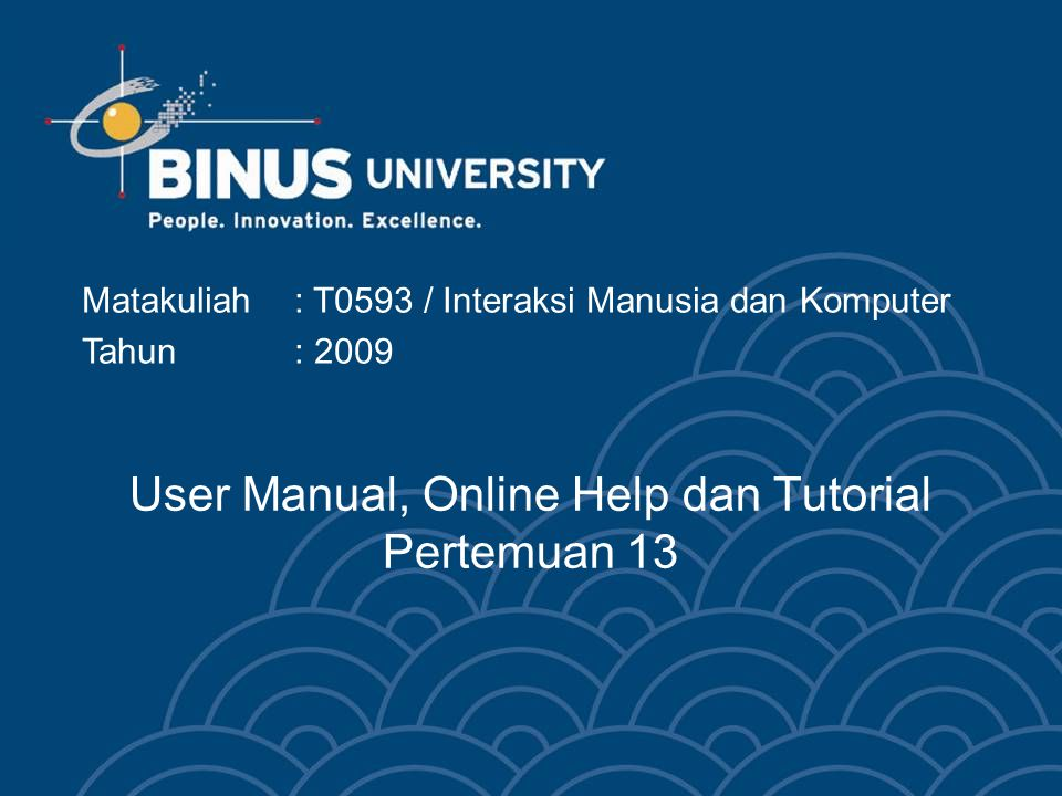 User Manual, Online Help dan Tutorial Pertemuan 13