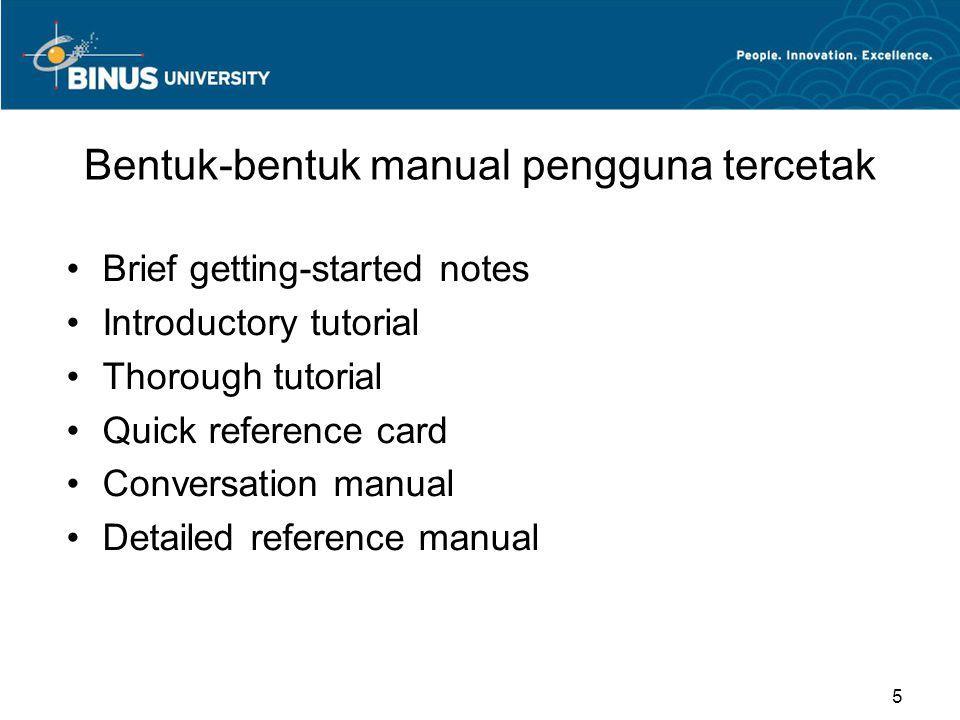 Bentuk-bentuk manual pengguna tercetak